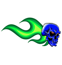 skull in fire tattoo design hand drawn vector image
