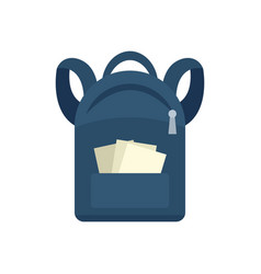 Student backpack icon flat style vector