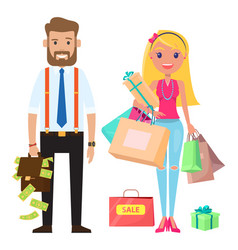 stylish businessmen and cute young girl a woman vector image
