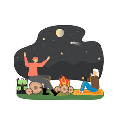 summer bbq scene happy couple sitting at campfire vector image