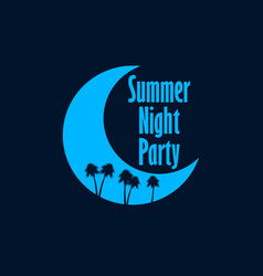summer night party crescent and palm trees retro vector image