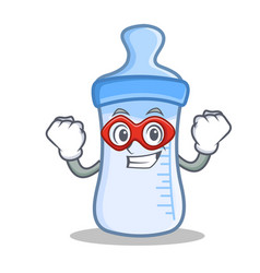 super hero baby bottle character cartoon vector image