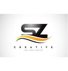 Sz s z swoosh letter logo design with modern vector