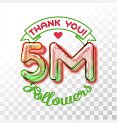thank you 5m followers vector image