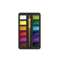 Watercolor paintbox icon in flat style vector image