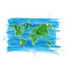 Watercolor painting style of world map vector