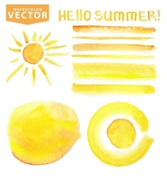 Watercolor stainsbrushessunletteringYellow vector