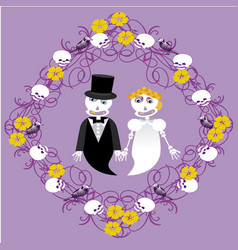 Wedding between skeletons with frame vector