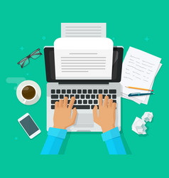 Writer writing on computer paper sheet vector