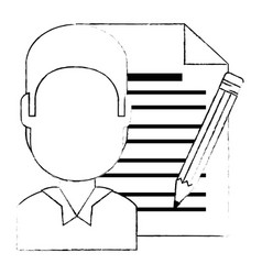 young man with document and pencil vector image
