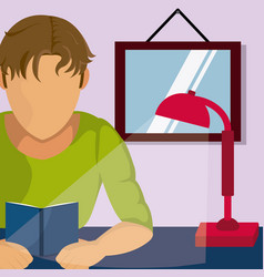 young student reading on room vector image