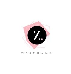 z letter pastel geometric shaped logo design vector image