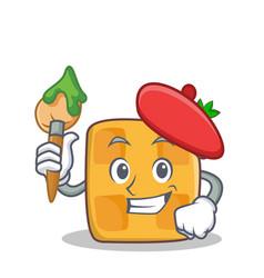 artist waffle character cartoon design vector image vector image