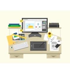 Interior design workspace vector