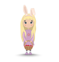 cute girl egg hunting easter rabbit years vector image