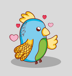 Cute lovely parrot doodle cartoon vector