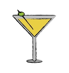 drawing glass cocktail martini with olive vector image
