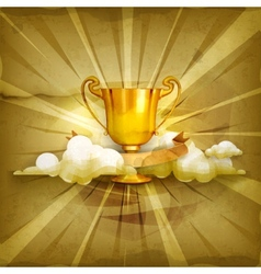 Gold trophy old style background vector image vector image