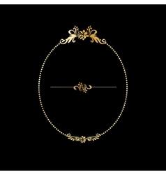 Golden calligraphic design oval frame on the black vector image
