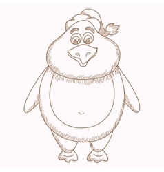Hand drawn penguin pencil drawing of fatty vector image