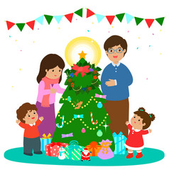 Happy family decorate christmas tree art vector