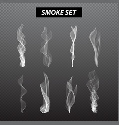 Realistic smoke design Set black background vector image
