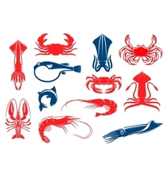 Seafood and fish food isolated icons vector image vector image