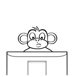 Black and white monkey behind screen vector image vector image