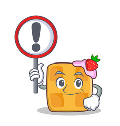 bring sign waffle character cartoon design vector image