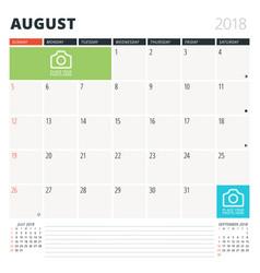 calendar planner for august 2018 design template vector image