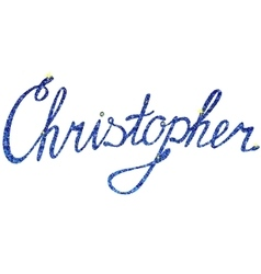 Christopher name lettering tinsels vector image vector image