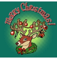 Deer Santa Claus merry Christmas vector image