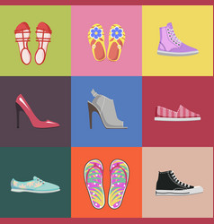 fashionable shoes collection advertising poster vector image vector image
