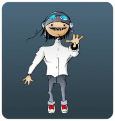guy with headphones vector image vector image