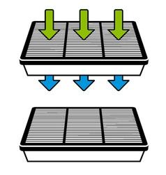 air filter flow symbols vector image