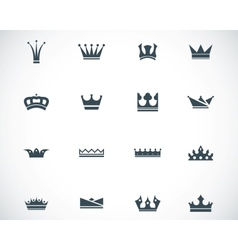 Black crown icons set vector