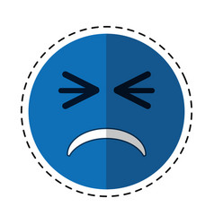 cartoon unhappy face emoticon funny vector image
