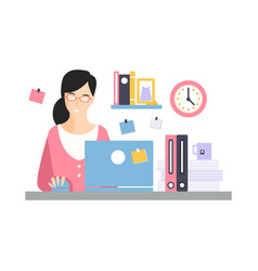 elegant businesswoman character working with vector image
