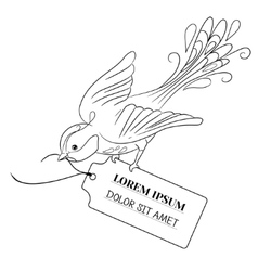 Fantasy bird flies and bears a label with the vector image vector image