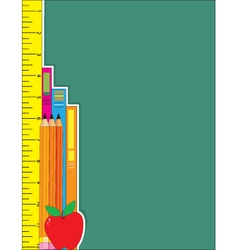 ruler pencils books vector image vector image