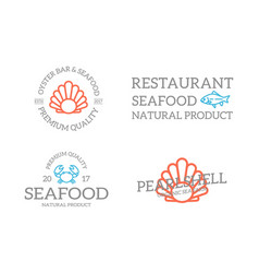 set of retro vintage fish and shell crab logo or vector image vector image