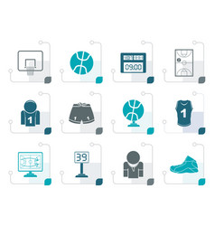 stylized basketball and sport icons vector image vector image