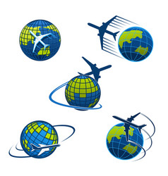 travel agency icons plane and world globe vector image vector image