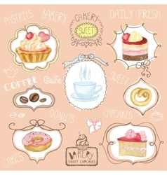 Watercolor sweet cakes label setCafe logo vector image