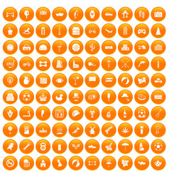 100 ball icons set orange vector