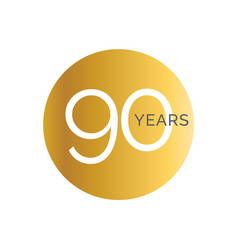90th anniversary gold banner template ninety vector image