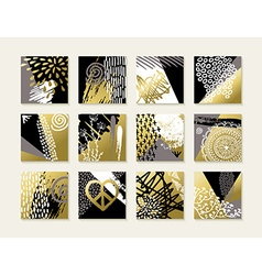 Abstract art set of gold card designs vector image