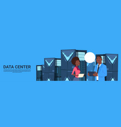 african american business man and woman working on vector image