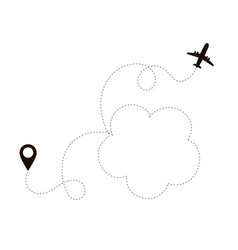airplane dotted line air plane flight route path vector image
