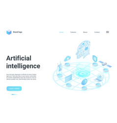 Artificial intelligence isometric landing page vector